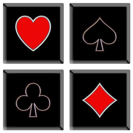 illustration icons or buttons of the four signs poker Stock Photo
