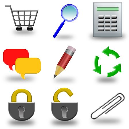 Web set of icons to use any website or blog Stock Photo