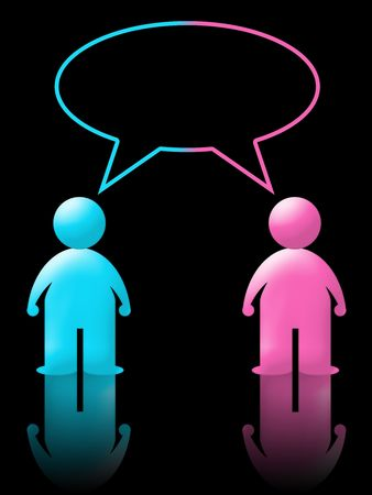 girl and boy talking in instant messenger or chat. black background and reflection Stock Photo