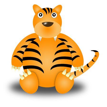 tiger. Illustration cartoon style. white background Stock Photo