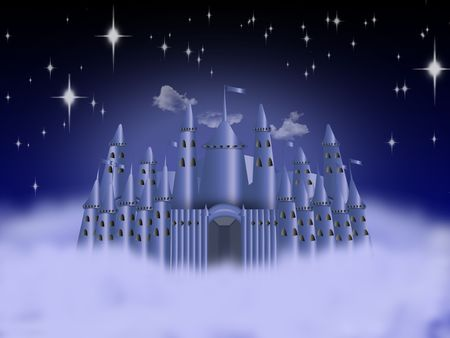 imprisoned person: fantastic castle on the clouds in the sky