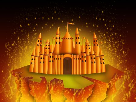fantastic castle surrounded by the fire of a volcano Stock Photo