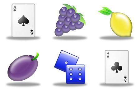 set of six symbols of the slot machine