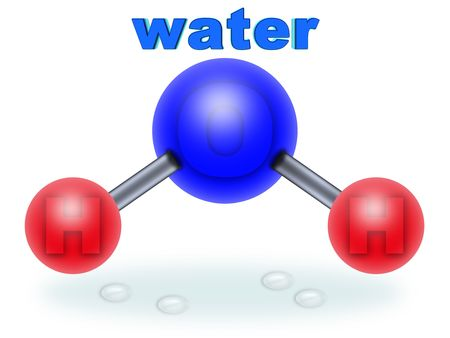 hydrogen: molecular structure of water. two parts hydrogen one part oxygen Stock Photo