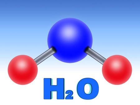 atomic energy: molecular structure of water. two parts hydrogen one part oxygen Stock Photo