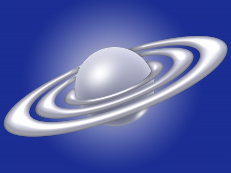 Saturn, the planet illustration with rings