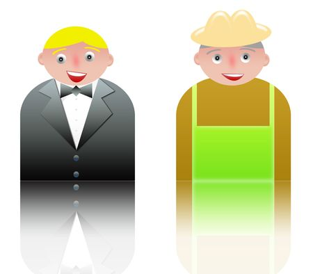 people icons of waiter and farmer. white background and reflection