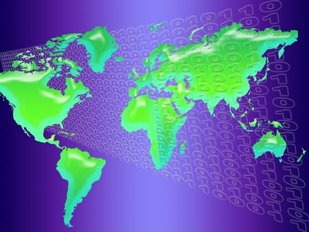 technology background with world map and binary code Stock Photo - 5144275