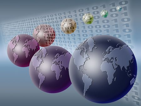 technology background with planet earth and binary code Stock Photo - 5144264