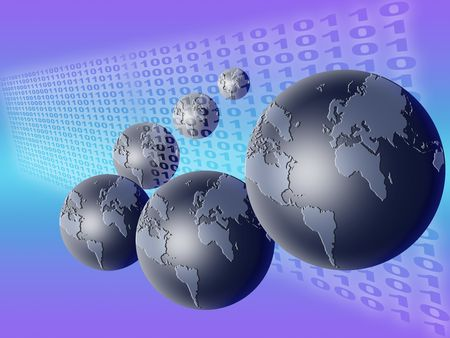 technology background with planet earth and binary code Stock Photo - 5144267
