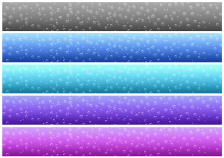 banner with drops of five colors on a white background. easily cropping