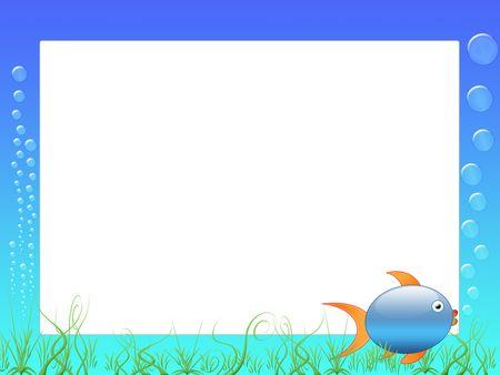 fond marin: cadre ou d'album, avec des poissons, des bulles et des fonds marins - Cadre photo ou message
