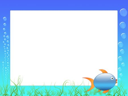 fondali marini: scrapbook cornice o con pesce, bolle e dei fondali marini - Photo Frame o messaggio