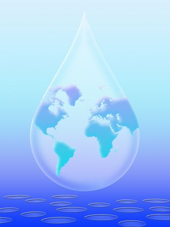 Water droplet with the planet earth inside