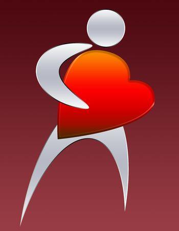stylized human figure with big heart