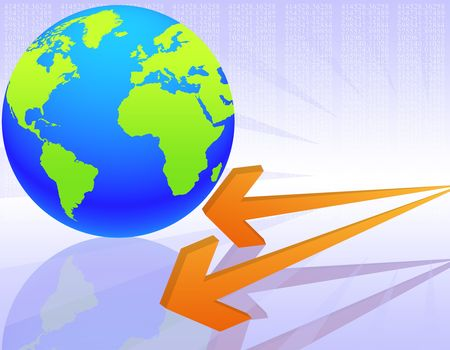 illustration on the concept of evolution of the global economy Stock Illustration - 5213333