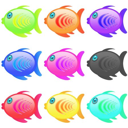 series of multicolor cartoon style icon fish Stock Photo - 5213355