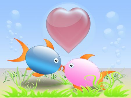 two fish lovers kissing on the seabed