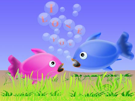 says: Fish says a male to female, I love you Stock Photo