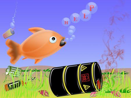 veneno frasco: concepto de riesgo, la contaminaci�n del mar. pescado pide ayuda Foto de archivo