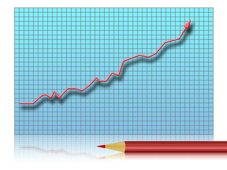Illustration of a graph of growth with pencil illustration