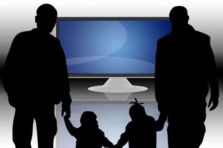 audiovisual: Flat LCD tv Liquid-Crystal Display and family Stock Photo