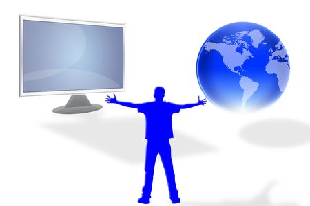 audiovisual: figure of a man with monitors and world Stock Photo