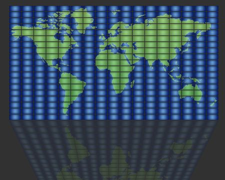 audiovisual: set of monitors that transmit over the world Stock Photo