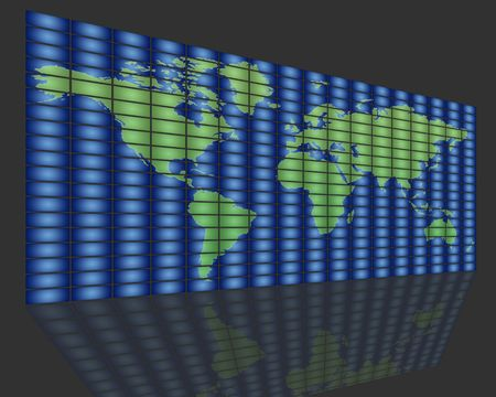 set of monitors that transmit over the world Stock Photo