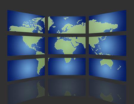 audiovisual: set of monitors that transmit over the world Stock Photo