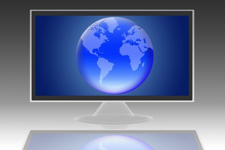 audiovisual: lcd monitor with the image of planet earth Stock Photo