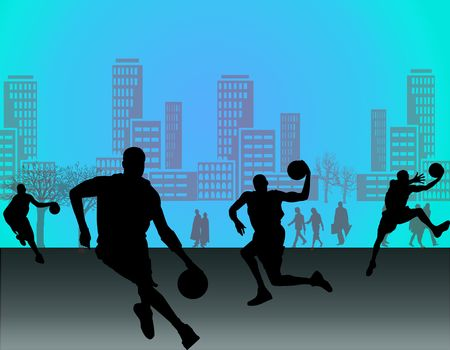 Silhouette of basketball players with street background of city Stock Photo