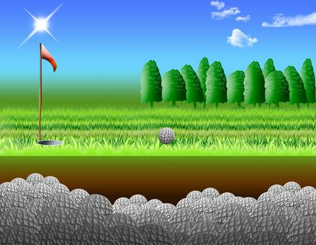 keeps: holes of golf that keeps the balls Stock Photo