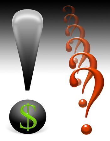 Illustration conceptual questions and fears about money Stock Illustration - 5250156