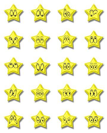 Yellow smile stars on white photo