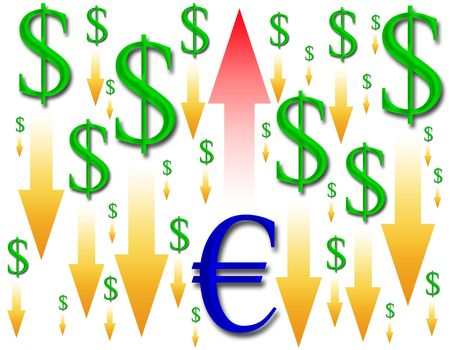 decreased: image of the euro rising and the dollar area decreased