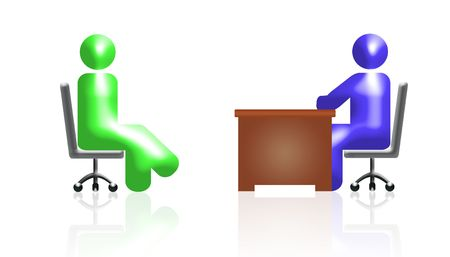 two icons of businessmen in the work situation. white background and reflection Stock Photo - 5326837