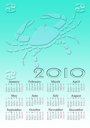 cancer. calendar for the year 2010 with the astrological sign Stock Photo - 5373569