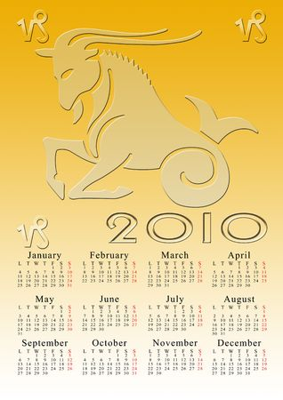 capricorn. calendar for the year 2010 with the astrological sign Stock Photo - 5373571