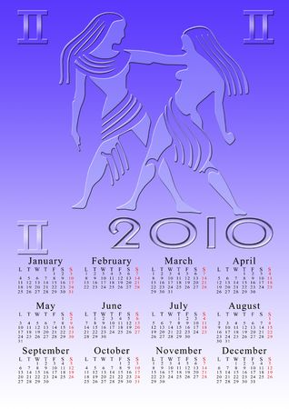 gemini. calendar for the year 2010 with the astrological sign