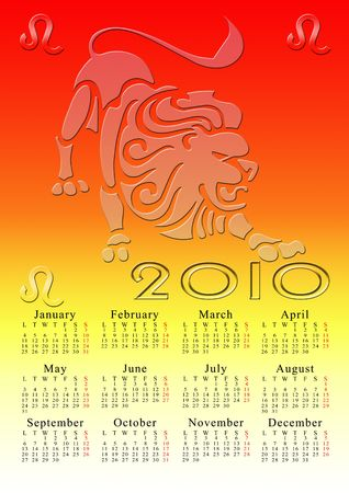 leo. calendar for the year 2010 with the astrological sign Stock Photo - 5373578