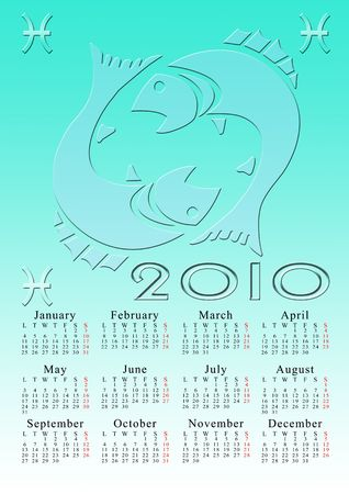 pisces. calendar for the year 2010 with the astrological sign Stock Photo - 5373570