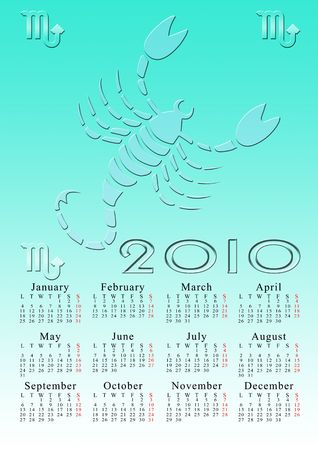 scorpio. calendar for the year 2010 with the astrological sign Stock Photo - 5373568