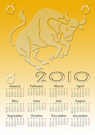 taurus. calendar for the year 2010 with the astrological sign Stock Photo - 5373572