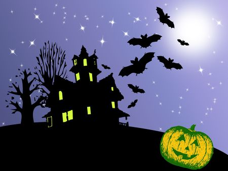 background or Illustration for Halloween with bats, moon, pumpkins and dried trees Stock Illustration - 5404170