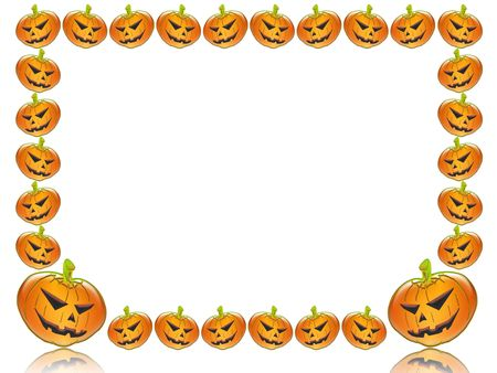 Halloween. frame or background with pumpkins. You can customize the free space Stock Photo