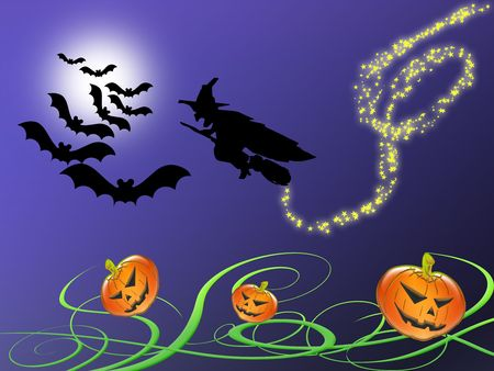 background or Illustration for Halloween with bats, moon, pumpkins and witch Stock Illustration - 5432682