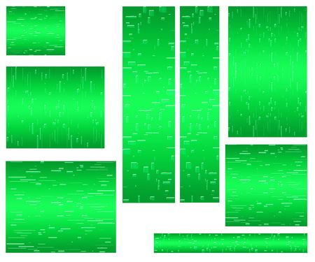 proportional: series of eight banners for web color green sizes are proportional to the standard  Stock Photo