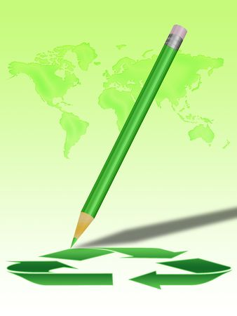 green pencil drawing the recycling symbol, map of the earth in the background photo