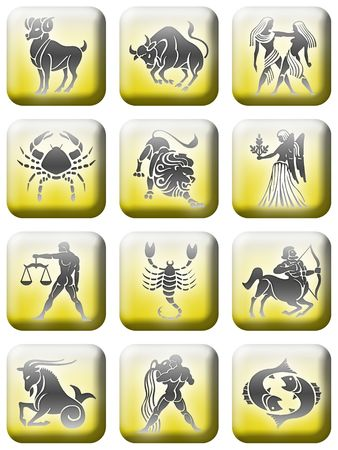 set of buttons of the zodiac signs. Stock Photo